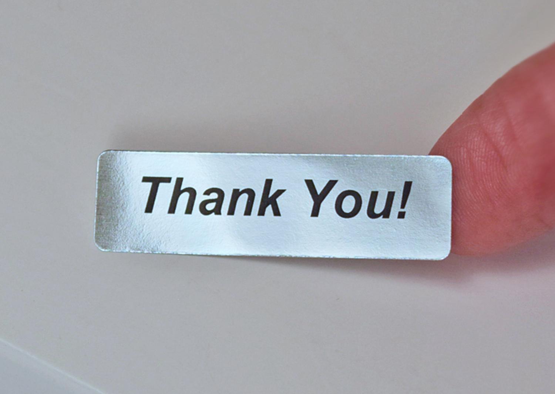 Studio 65 Thank You 400 Silver Foil Label Stickers Thankyou