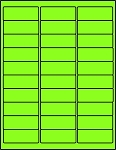 2 5/8 x 1 Fluorescent Green Labels  50 sheets GR2610