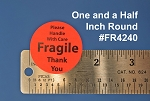 Fragile Stickers 1 1/2 inch Round 1,200 Fluorescent Red Labels #FR4240