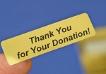Thank You for Your Donation! Gold Foil 400 Label Stickers #TYFYDG