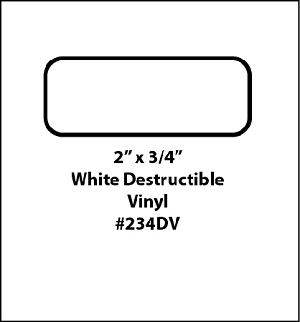 500 White Destructible Vinyl Tamper Evident Labels 2 x 3/4 234DV