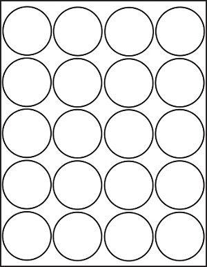 Glossy white printable sticker labels 50 sheets 2 inch for 2 round label template 20 per sheet