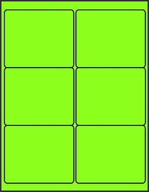 4 x 3 1/3 Inch Fluorescent Green Labels 50 sheets GR4033