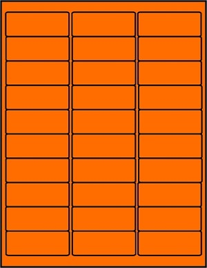 2 5/8 x 1 Fluorescent Orange Labels  50 sheets OR2610