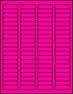 1 3/4 x 1/2 inch Labels Fluorescent Pink color 50 sheets P1705