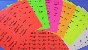 "Color Coded Moving Kit 4"" x 2"" Fluorescent Room Labels 4020RL with Fragile Labels"