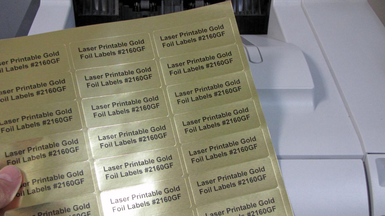 photo regarding Gold Printable Labels named Gold Foil 2 5/8 x 1 30 up Laser Labels Laser 50 sheets 2610GF