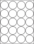 Glossy White Printable Sticker Labels 25 Sheets 2 Inch Round 4220GW