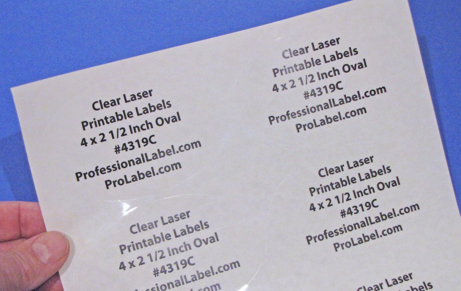 photo relating to Printable Clear Labels named Oval 4 x 2 1/2 inch Obvious Shiny Laser Printable Labels 50 Sheets 4319C