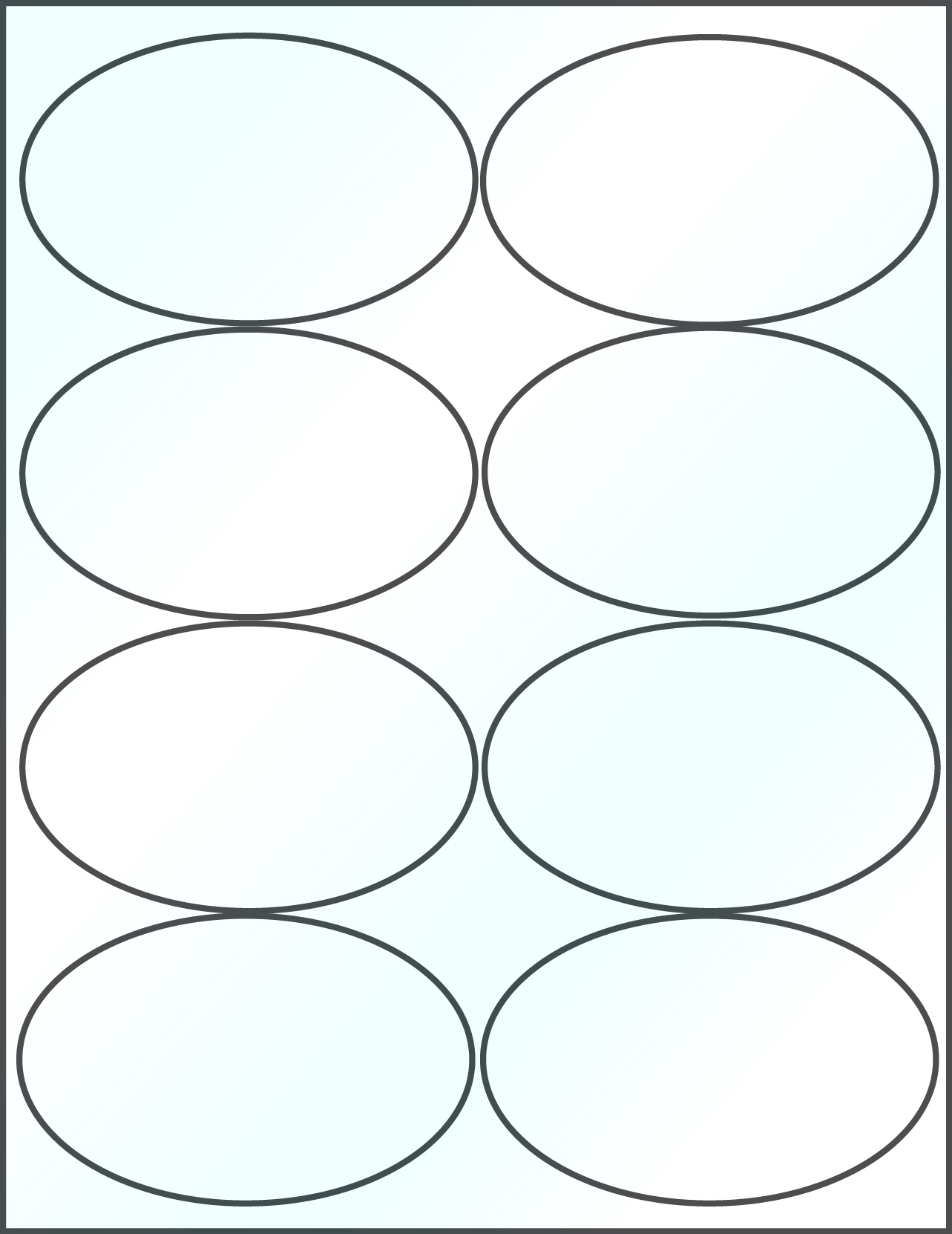 graphic regarding Oval Printable Labels identified as Oval 4 x 2 1/2 inch Distinct Shiny Laser Printable Labels 50 Sheets 4319C