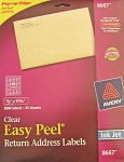 Avery Clear Inkjet Return Address Labels 25 sheets 1/2 x 1 3/4 8667