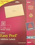 Avery Clear Inkjet Address Labels 25 sheets 1 x 2 5/8 8660