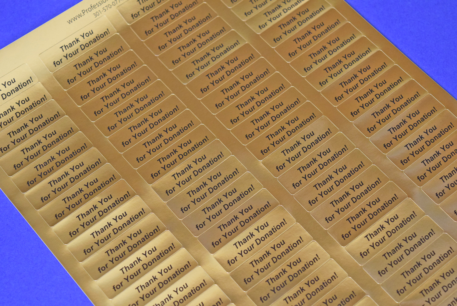 Thank You For Your Donation Gold Foil 400 Label Stickers