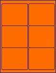 4 x 3 1/3 Inch Fluorescent Orange Labels 50 sheets OR4033