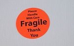 Fragile Stickers 1 1/2 inch Round 600 Fluorescent Red Labels