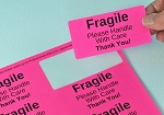 Fragile Stickers 4 x 2 inch 250 Fluorescent Pink Labels