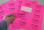 Fragile Stickers 4 x 2 inch 250 Fluorescent Pink Labels #Fragile4020P
