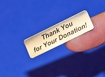 Thank You for Your Donation! Silver Foil 400 Label Stickers #TYFYD