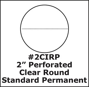 "2"" Round Perforated Clear Label Seals Standard Perm 500 roll 2CIRP"