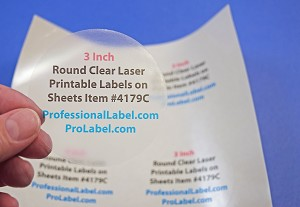 3 Inch Round Clear Glossy Laser Printable Labels 25 Sheets 4179C