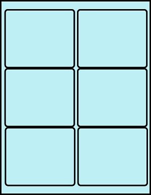 4 x 3 1/3 Inch Pastel Blue Labels 50 sheets B4033