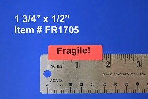 "Fragile Stickers 1 3/4"" x 1/2"" 4,000 Fluorescent Red Labels #FR1705"