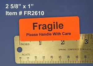 "Fragile Stickers 2 5/8"" x 1"" 1,500 Fluorescent Red Labels #FR2610"