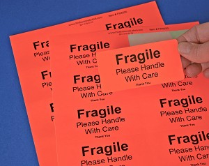Fragile Stickers 4 x 2 inch 250 Fluorescent Red Labels #FR4020