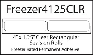 Freezer Grade Clear Labels 4 x 1 1/4 Inches 500 per roll FREEZER4125CLR