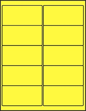 2 x 4 Inch Fluorescent Yellow Labels 50 sheets C4020