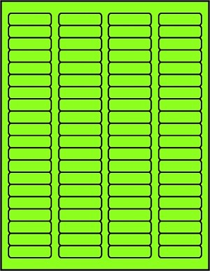 1 3/4 x 1/2 inch Labels Fluorescent Green color 50 sheets GR1705