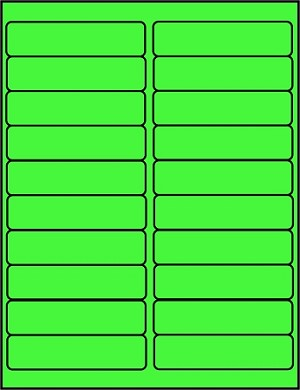 4 x 1 Fluorescent Green Labels  500 sheets GR4010