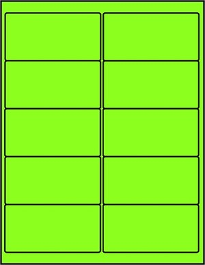 2 x 4 Inch Green Fluorescent Labels 50 sheets GR4020