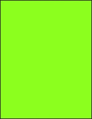 8 1/2 x 11 Full Sheet Fluorescent Green Labels 50 sheets GR8511