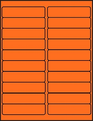 4 x 1 Fluorescent Orange Labels  500 sheets OR4010