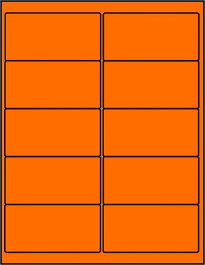 2 x 4 Inch Fluorescent Orange Labels 50 sheets OR4020