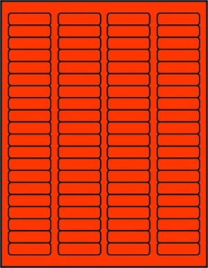 1 3/4 x 1/2 inch Labels Fluorescent Red color 50 sheets R1705